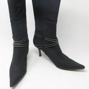 Sergio Rossi Canvas Leather Buckle Zipper Boot